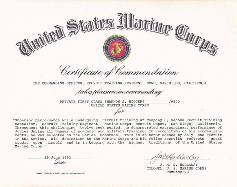 The U.S. Marine Corps Gives SCS Tree Service Owner a Commendation